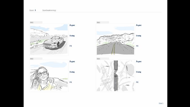 Vågrät storyboard