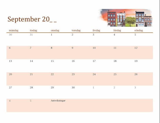 Säsongsillustrerad kalender för valfritt år