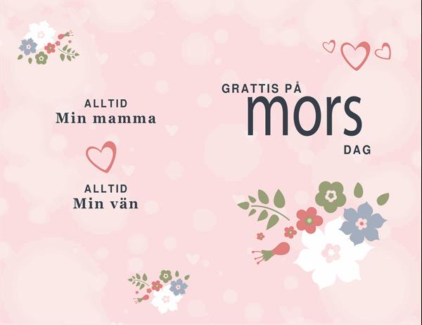 Mors dag-kort i rosa