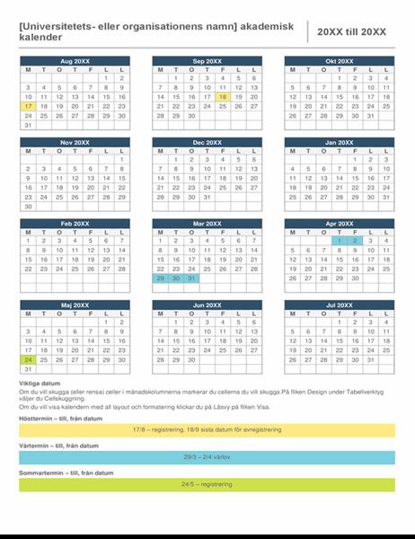 Akademisk årskalender