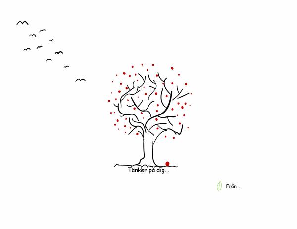Deltagandekort med trädmotiv