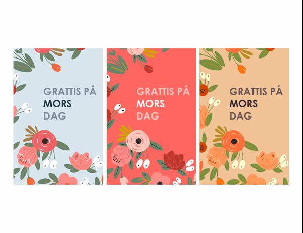 Vackra blommiga mors dag-kort