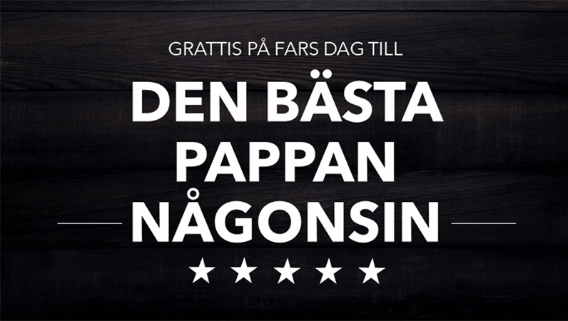 Typografiskt Fars dags-kort