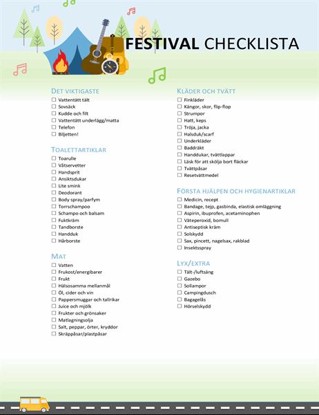 Checklista för festivalen