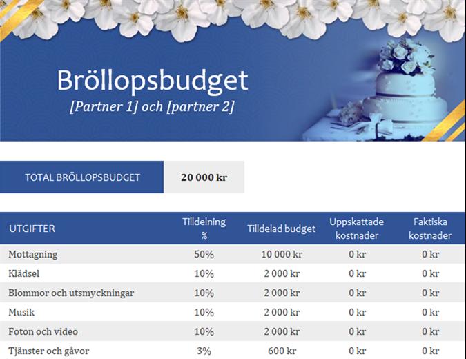 Översikt över bröllopsbudget