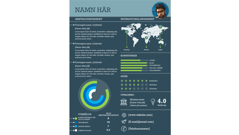 Internationell CV med informationsgrafik
