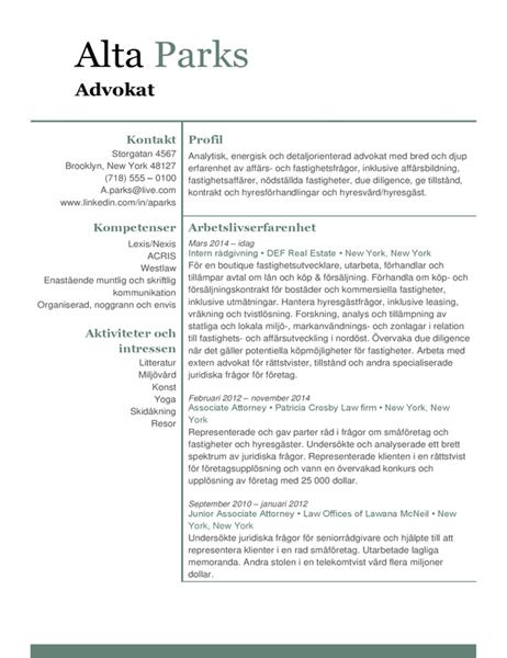 CV för jurist