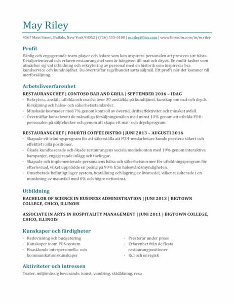 CV för restaurangchef