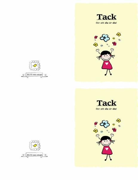 Tackkort med liten flicka