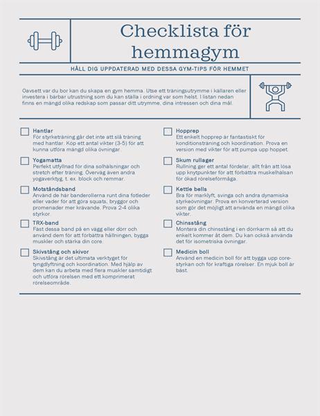 Checklista för hemmagym
