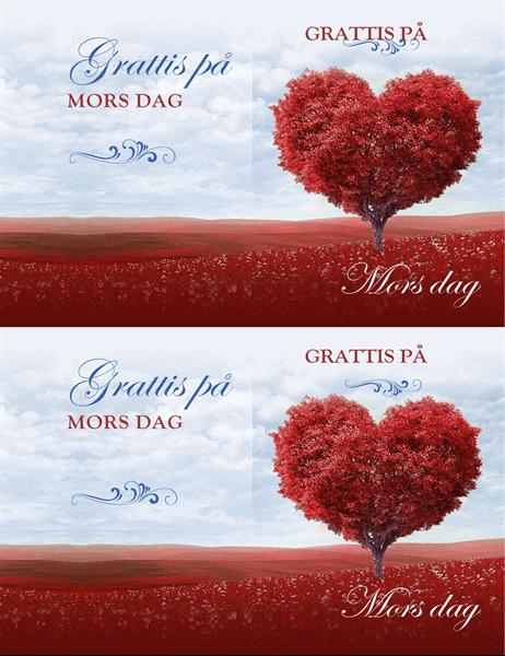 Mors dag-kort med hjärtformat träd