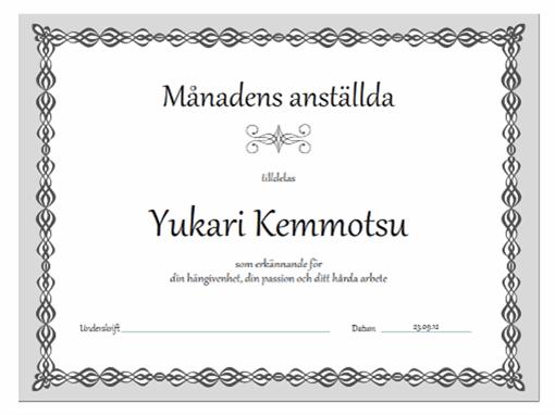 Diplom, Månadens anställd (grå kedjedesign)