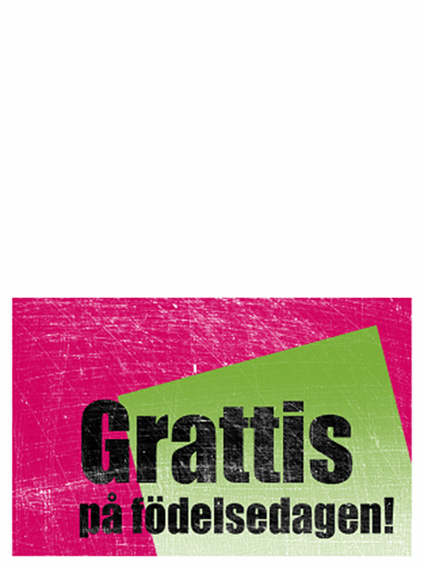 Födelsedagskort, repad bakgrund (rosa, grönt, dubbelvikt)