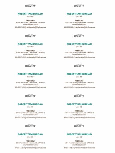 Visitkort, vågrät layout med logotyp (10 per sida)