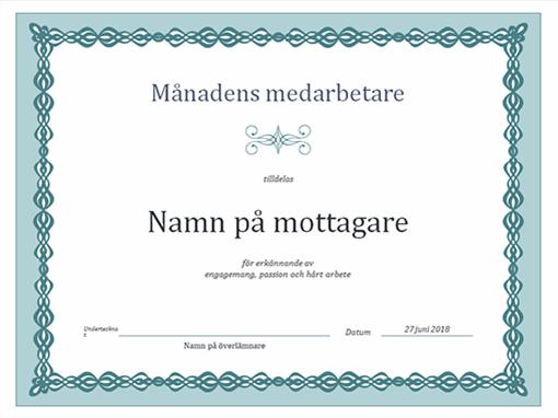 Diplom för månadens medarbetare (blå kedjedesign)