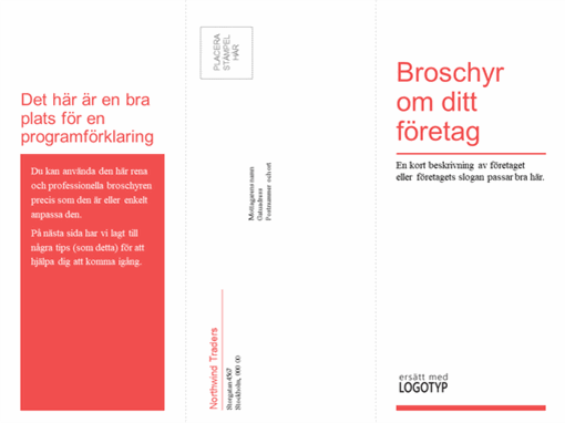 Trevikt broschyr för medicinsk verksamhet (röd och vit design)