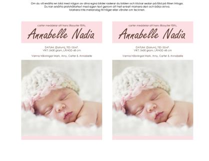 Meddelande om en nyfödd flicka