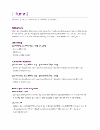 Meritförteckning (violett)