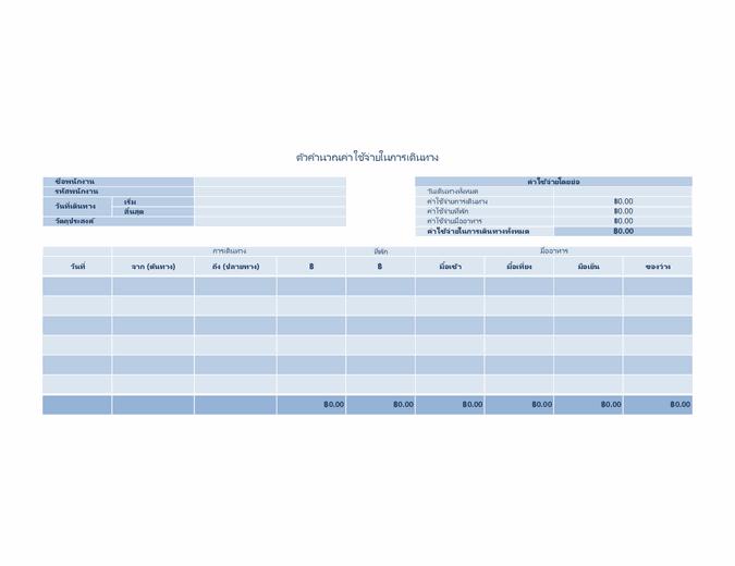 รายการบันทึกค่าใช้จ่ายในการเดินทาง