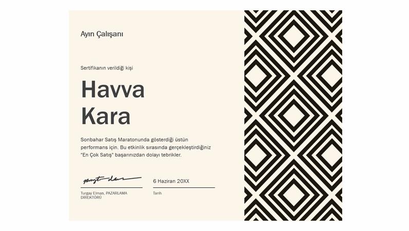 Pırlanta ayın çalışanı sertifikası
