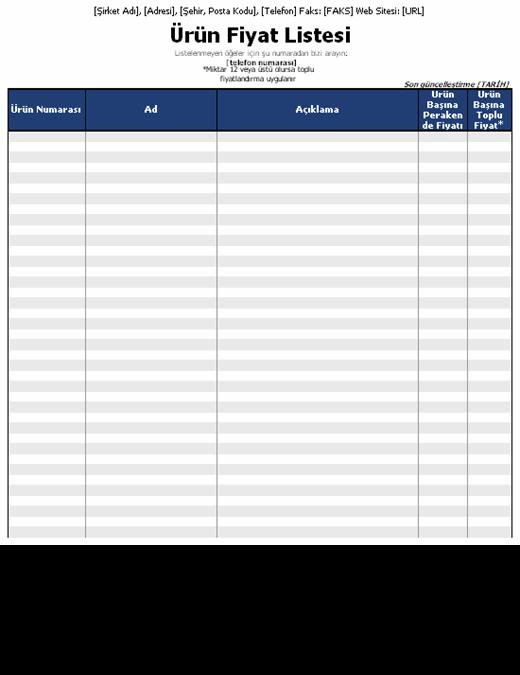 Ürün fiyat listesi