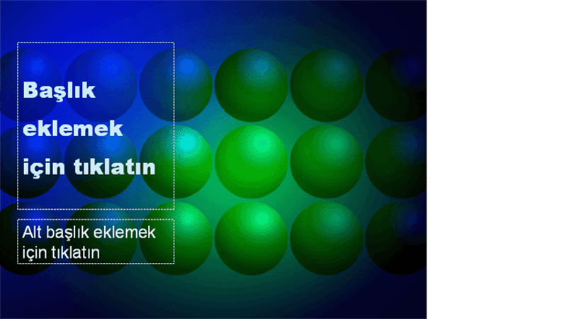 Mavi ve yeşil toplar tasarım şablonu