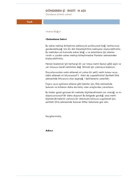 Adres mektup birleştirme mektubu (Medyan tema)