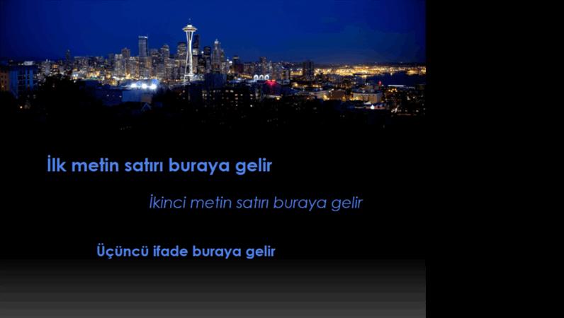 Seattle şehir manzarası üzerinde hareket eden ve renk değiştiren animasyonlu resim yazıları