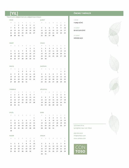 Küçük işletme takvimi (herhangi bir yıl, Pzt-Paz)