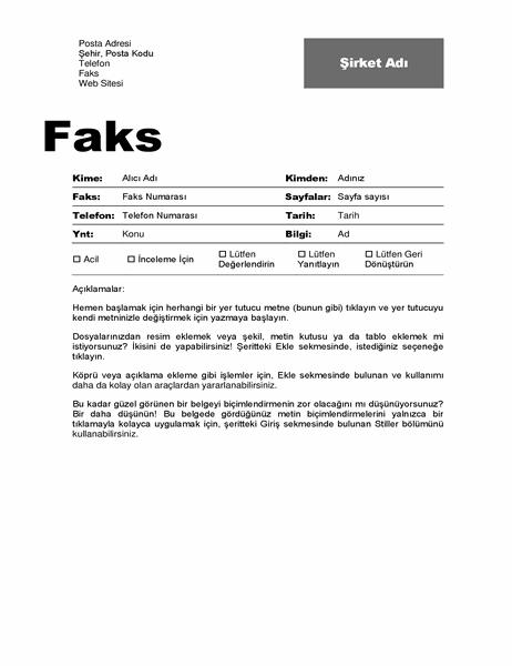 Faks kapak sayfası (Profesyonel tasarım)