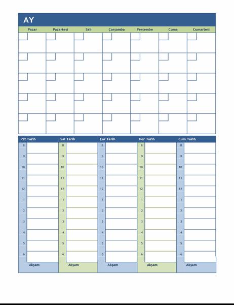 Aylık ve haftalık planlama takvimi