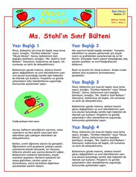 Sınıf Bülteni (2 sütun, 2 sayfa)