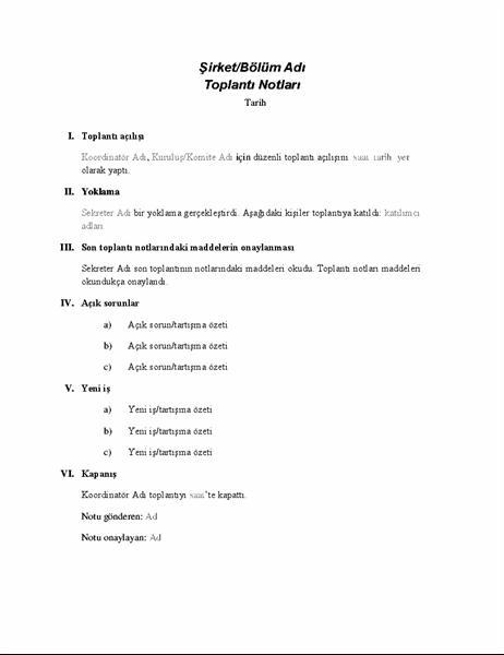 Resmi toplantı notları
