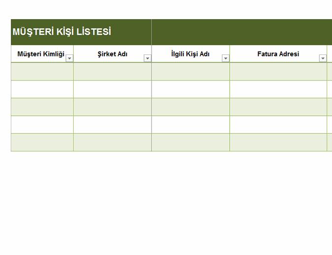 Basit müşteri kişi listesi
