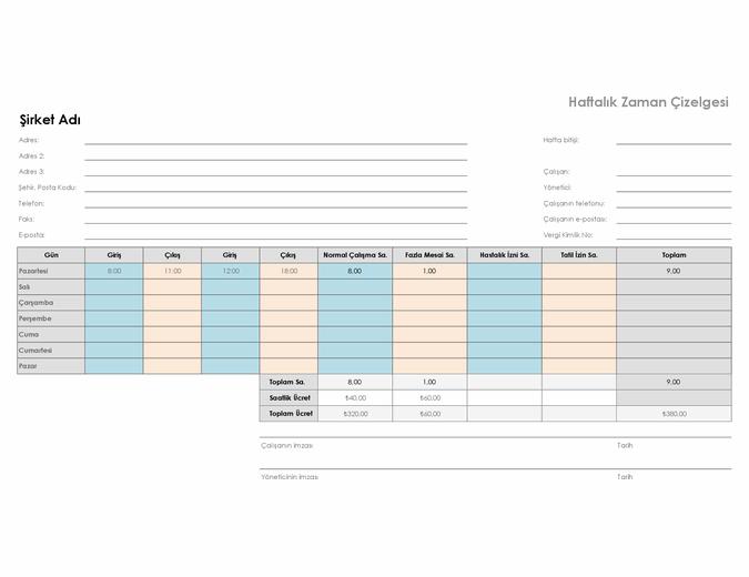 Haftalık zaman çizelgesi (21,59 x 27,94 cm, yatay)