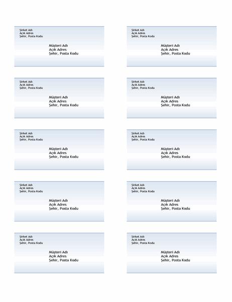Nakliye etiketleri (Mavi gradyan tasarım, sayfa başına 10 adet)
