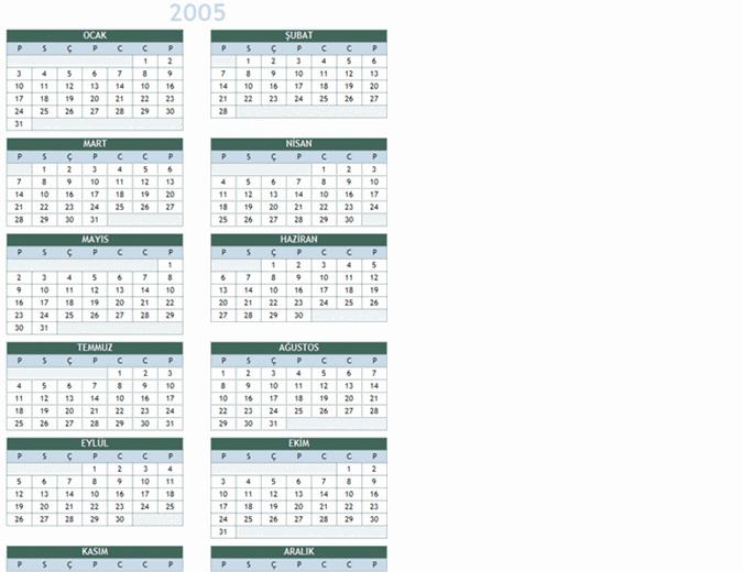 2005-2014 yıllık takvimi (Pts-Paz)