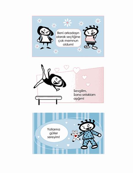 Çocuklar için kendi kartlarınızı hazırlayın (4 sayfa kart tasarımı ve 1 evrensel arka sayfa)