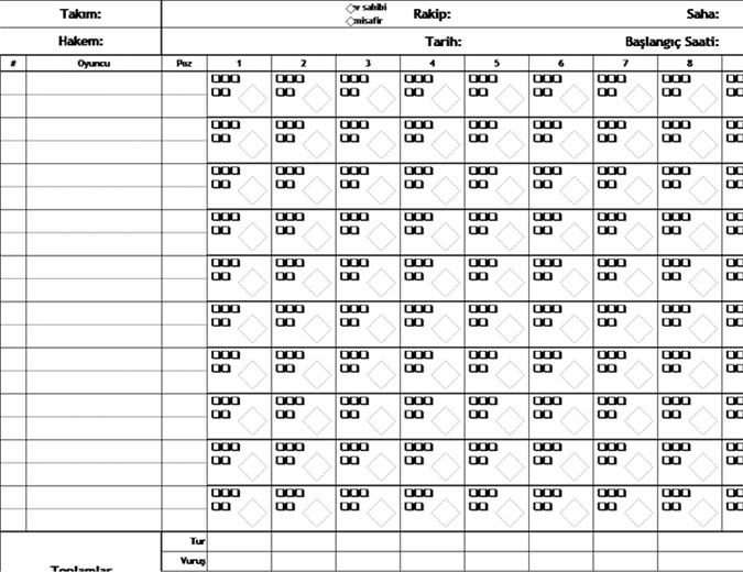 Atış sayısı olan beysbol puan kartı