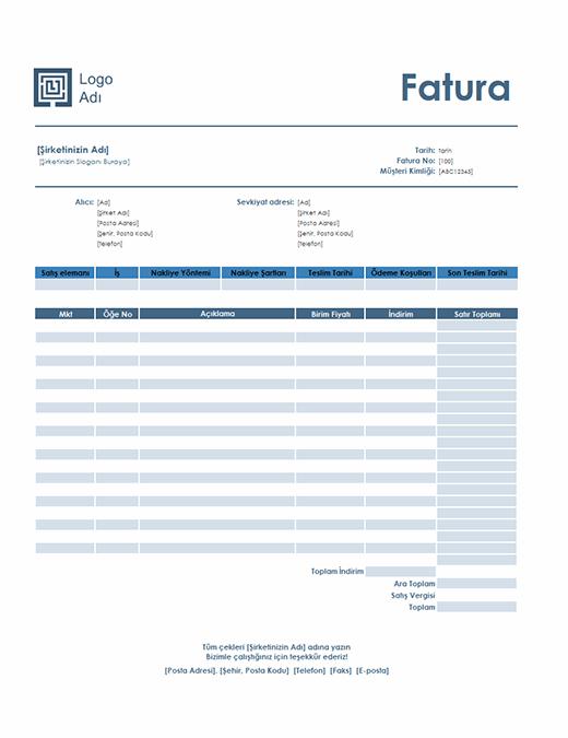 Satış faturası (Basit Mavi tasarım)