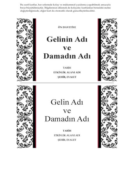 Düğün ön davetiye kartı (Siyah Beyaz düğün tasarımı)