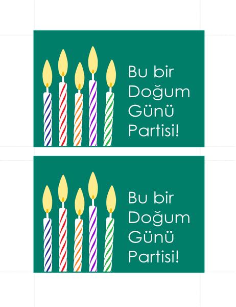 Doğum günü davetiye kartpostalları (sayfa başına 2)