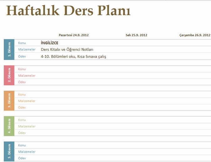 Haftalık akademik ders planı