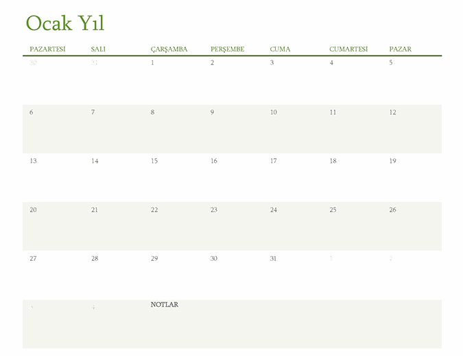 Herhangi bir yıl takvimi (sekme başına 1 ay)