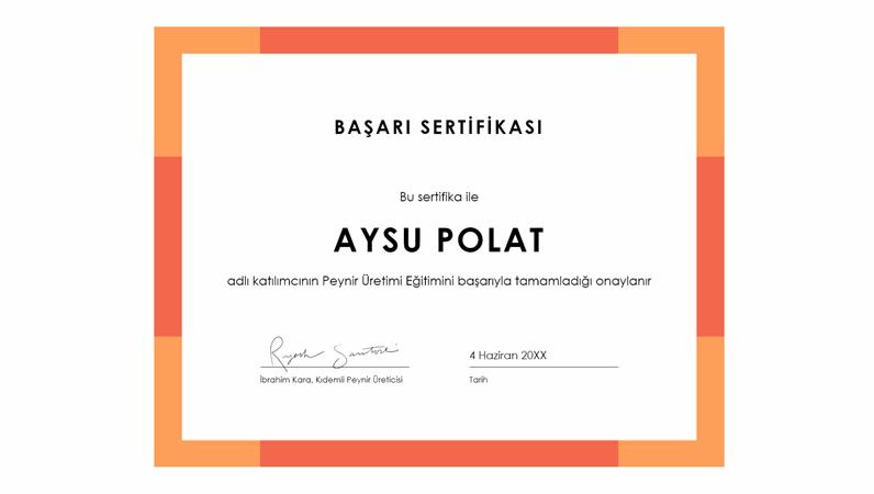Renk bandı başarı sertifikası