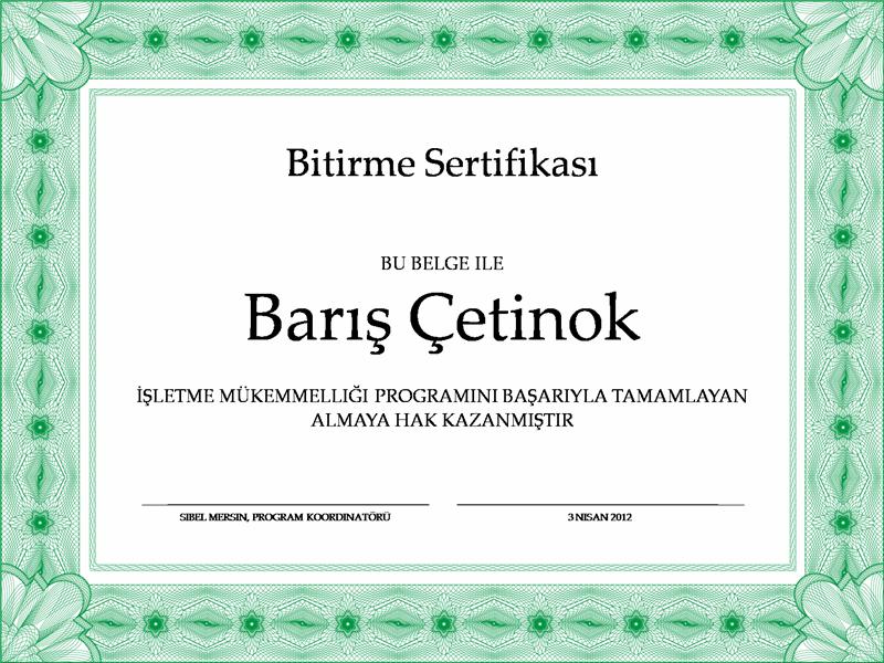 Bitirme sertifikası (yeşil)