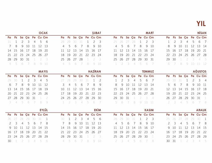 Yıllık genel takvim