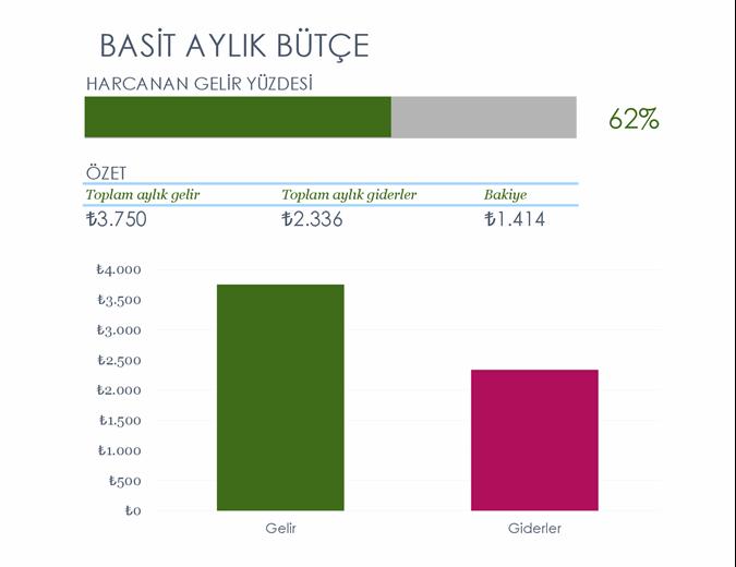 Basit aylık bütçe
