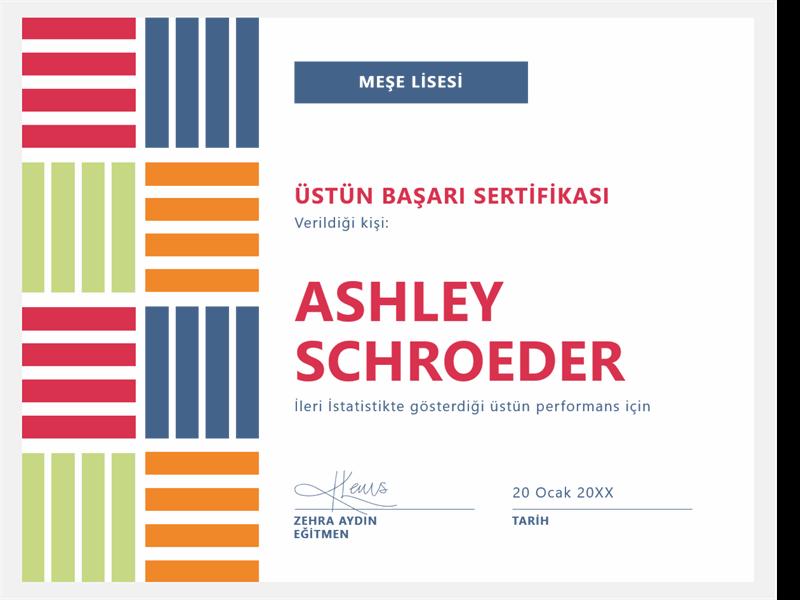Öğrenciye verilen üstün başarı sertifikası