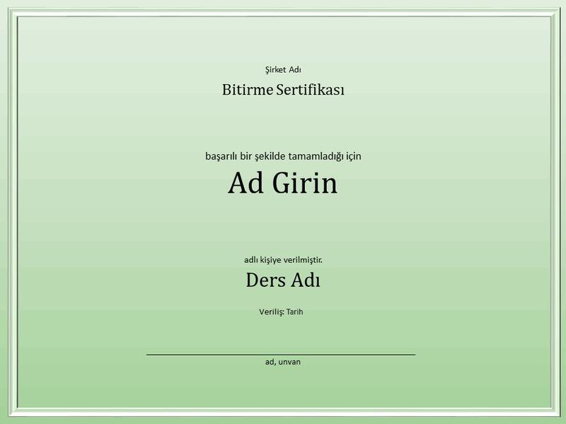 Ders tamamlama sertifikası